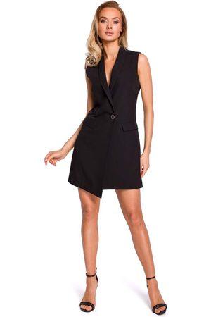 MOE Czarna elegancka żakietowa sukienka bez rękawów