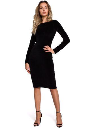 MOE Czarna klasyczna ołówkowa sukienka welurowa