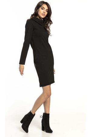 Tessita Czarna krótka bawełniana sukienka z kominem