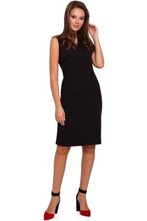 Makeover Czarna ołówkowa sukienka w serek bez rękawów