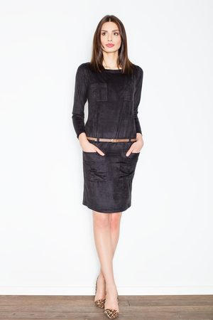 Figl Czarna prosta midi sukienka z paskiem z eko-skóry