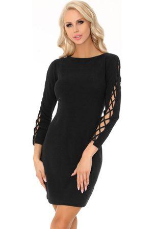 Merribel Czarna ołówkowa mini sukienka z dekoracyjną aplikacją na rękawach