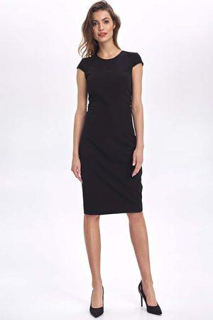 Nife Czarna ołówkowa sukienka z mini rękawkiem