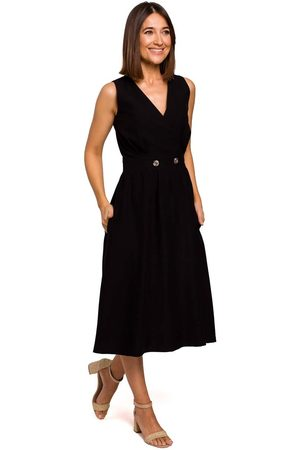 MOE Czarna letnia sukienka z podkreśloną talią