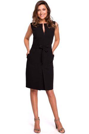MOE Czarna ołówkowa sukienka bez rękawów z kontrafałdą