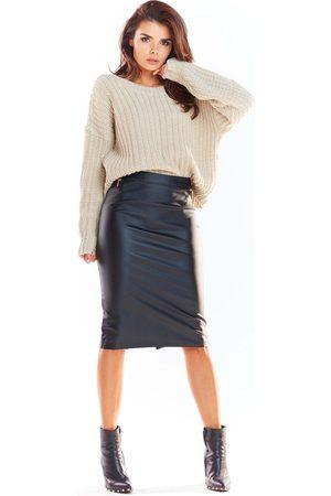 Awama Czarna ołówkowa midi spódnica z eko-skóry