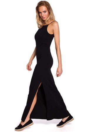 MOE Czarna maxi dresowa sukienka na wąskich ramiączkach