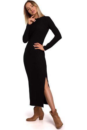 MOE Czarna prążkowana maxi sukienka z rozcięciem