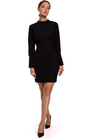 MOE Czarna ołówkowa sukienka mini ze stójką