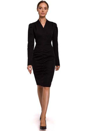 MOE Czarna ołówkowa sukienka z marszczeniem na spódnicy