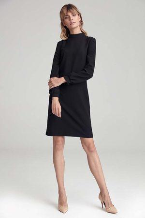 Nife Czarna prosta sukienka ze stójką