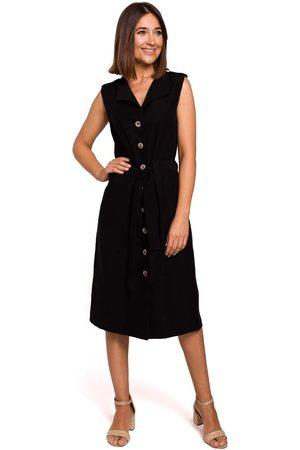 MOE Czarna sukienka midi typu szmizjerka bez rękawów