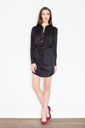 Figl Czarna sukienka o koszulowym kroju zapinana na zatrzaski
