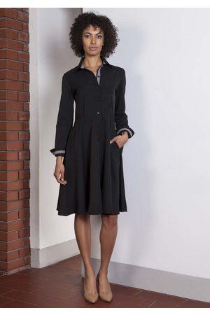 Lanti Czarna sukienka szmizjerka z długim rękawem
