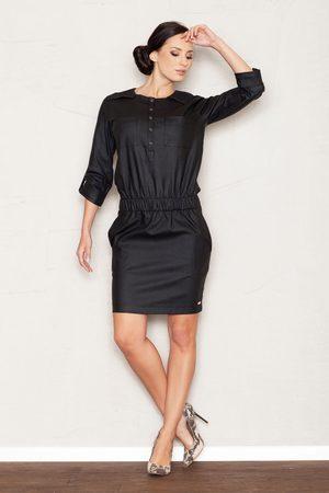 Figl Czarna sukienka mini z rękawem 3/4 w stylu casual