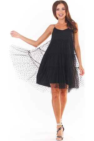 Awama Czarna tiulowa sukienka w groszki na ramiączkach
