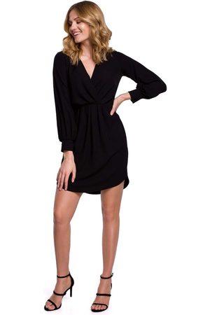 MOE Czarna sukienka z długim bufiastym rękawem