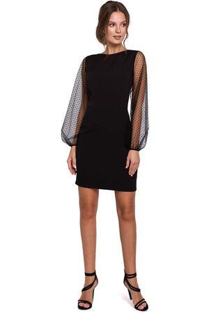Makeover Czarna szykowna sukienka z tiulowym rękawem