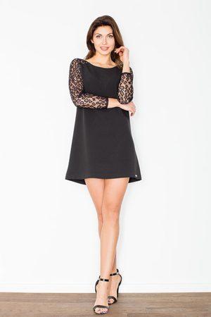 Figl Czarna trapezowa sukienka z koronkowym długim rękawem