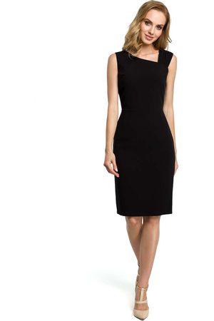 MOE Czarna wieczorowa ołówkowa sukienka z ciekawym dekoltem