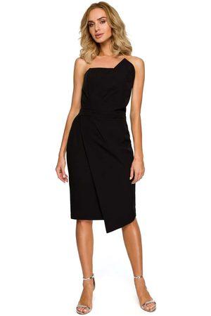 MOE Czarna wieczorowa asymetryczna sukienka z odkrytymi ramionami
