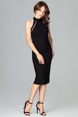 Katrus Kobieta Sukienki dopasowane - Czarna ołówkowa sukienka na stójce z tiulową wstawką