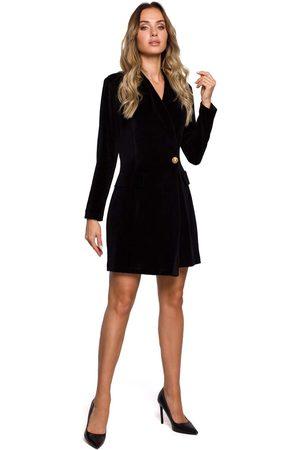 MOE Czarna żakietowa sukienka welurowa