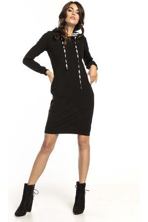 Tessita Czarna wzorzysta sukienka w sportowym stylu z kapturem w zygzaki