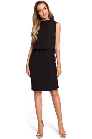 MOE Czarna zbluzowana midi sukienka na stójce bez rękawów