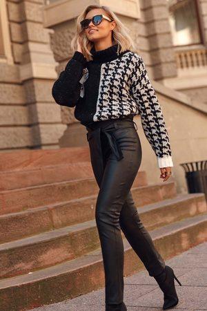 Makadamia Czarne eleganckie skórzane spodnie z wiązaniem w pasie