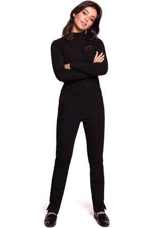 MOE Czarne dzianinowe spodnie na gumie z rozciętymi nogawkami