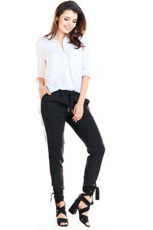 Awama Czarne casualowe spodnie z lampasami