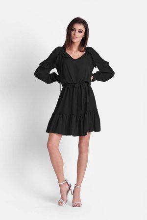 Ivon Czarna zwiewna szyfonowa sukienka w stylu boho