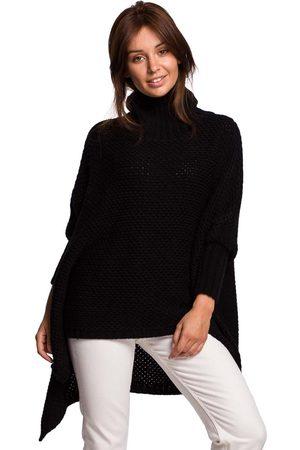 MOE Asymetryczny sweter-ponczo z golfem