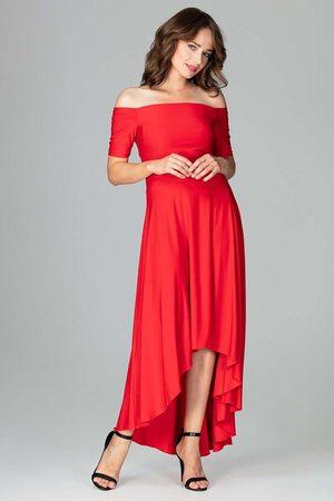 Katrus Czerwona długa asymetryczna sukienka z odkrytymi ramionami