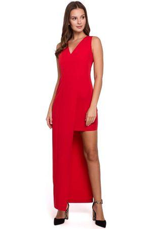 Makeover Czerwona asymetryczna długa sukienka wieczorowa