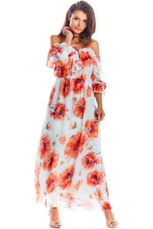 Awama Kobieta Sukienki z nadrukiem - Czerwona długa sukienka hiszpanka w kwiaty
