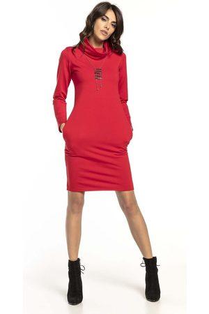 Tessita Czerwona krótka bawełniana sukienka z kominem