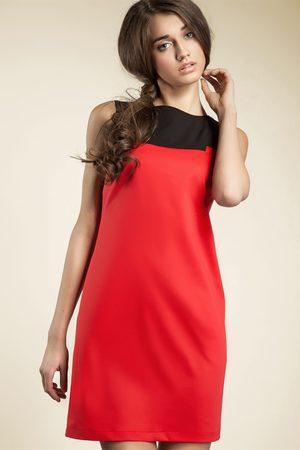 Nife Czerwona kobieca dwubarwna prosta sukienka