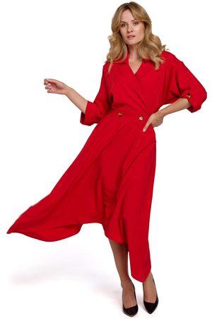 Moe Czerwona asymetryczna rozkloszowana sukienka z kopertowym dekoltem