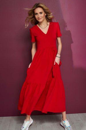 Makadamia Czerwona dzianinowa maxi sukienka z dekoltem v