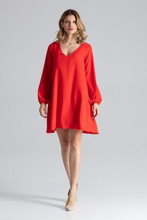Figl Czerwona sukienka trapezowa z długim rękawem