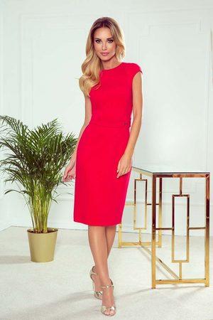 Numoco Kobieta Sukienki dopasowane - Czerwona elegancka ołówkowa sukienka z paskiem