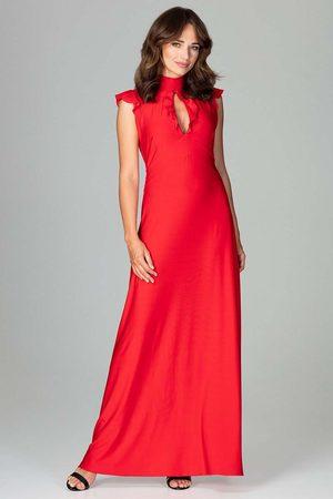 Katrus Czerwona subtelna długa sukienka z falbankami