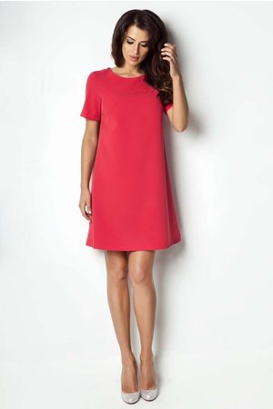 Ivon Czerwona sukienka trapezowa z krótkim rękawem