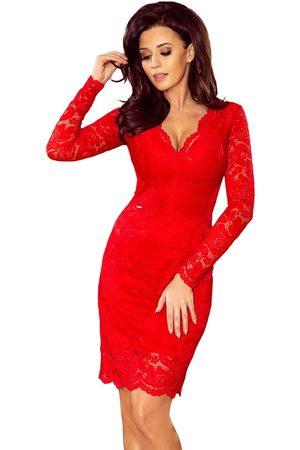 Numoco Czerwona koronkowa sukienka koktajlowa