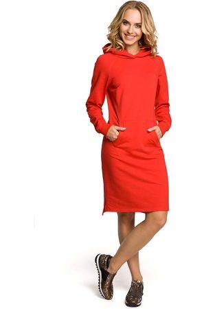 Moe Czerwona sukienka sportowa kangurka z kapturem