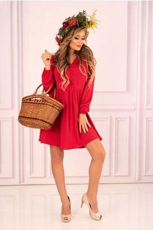 Merribel Czerwona rozkloszowana krótka sukienka z górą typu polo