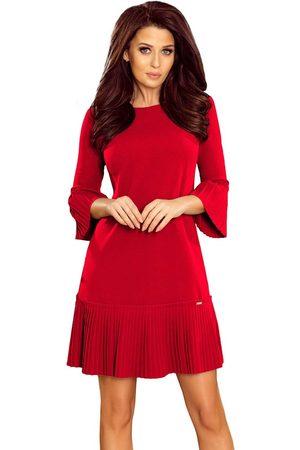 Numoco Czerwona sukienka wizytowa z plisowanymi falbankami