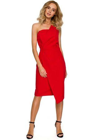 Moe Czerwona wieczorowa asymetryczna sukienka z odkrytymi ramionami